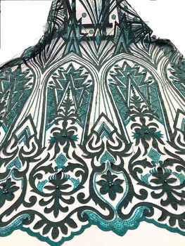 Novelty 3D French Lace With Sequins Applique 5 Yards/Lot 2019 Latest Beads Design African Lace Fabric For Wedding Dress Green