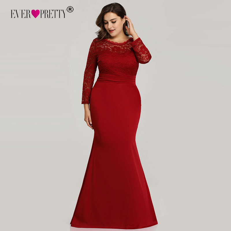 Image 2 - Ever Pretty Evening Dresses Long 2019 Black Mermaid Long Sleeve Lace Winter Autumn Satin Elegant Long Party Gowns for Wedding-in Evening Dresses from Weddings & Events