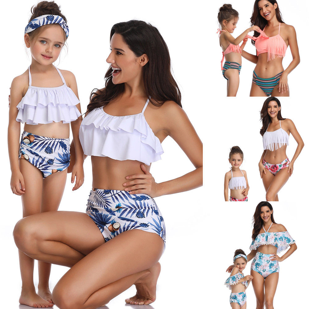2019 Hot Fashion Family Matching Outfits Swimwear Mother Daughter Taseel Bikini Bathing Suit Swimsuit Swim Wear summer casual bodycon dresses