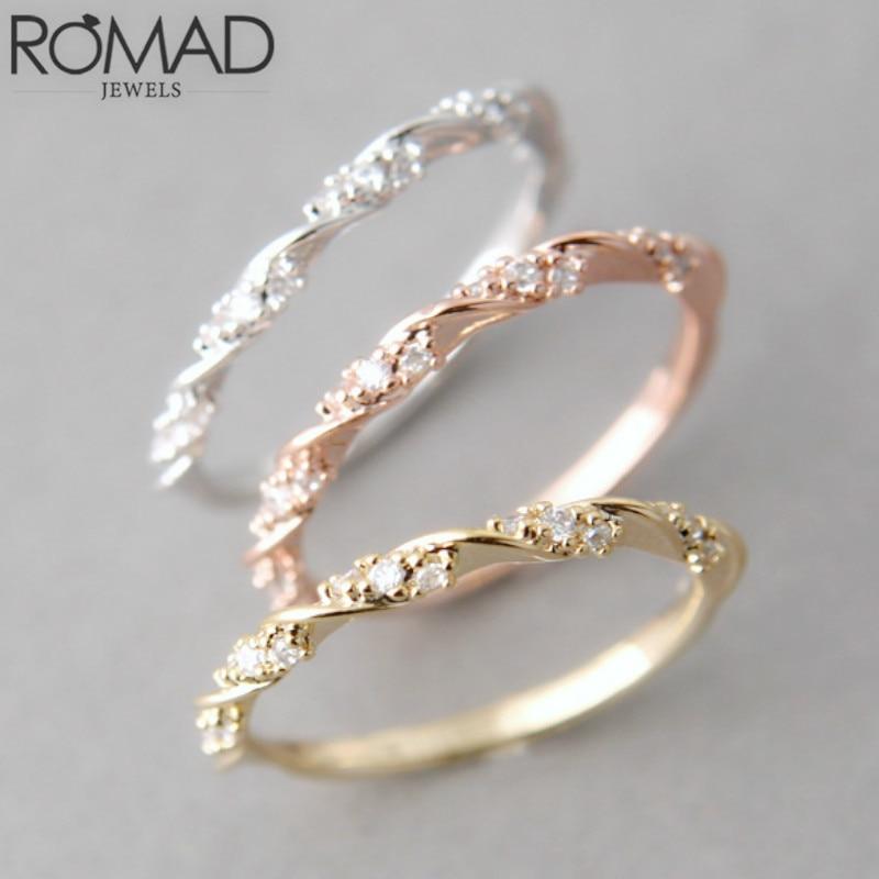 Мода украшений серебро, золото, розовое золото Цвет твист камнями Австрийские кристаллы Обручальное кольцо для женщина девушка Романтичес...