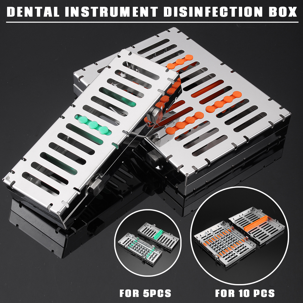 Dental Sterilization Autoclave Cassette Tray Box Rack Rubber Linker Instrument Clinic Disinfection Holder For 5/10Pcs Surgical