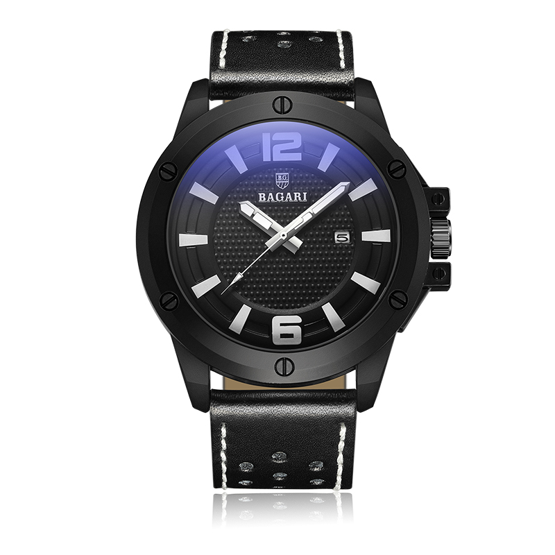 BAGARI мужской кожаный Роскошный хронограф кварцевые мужские спортивные водостойкие часы