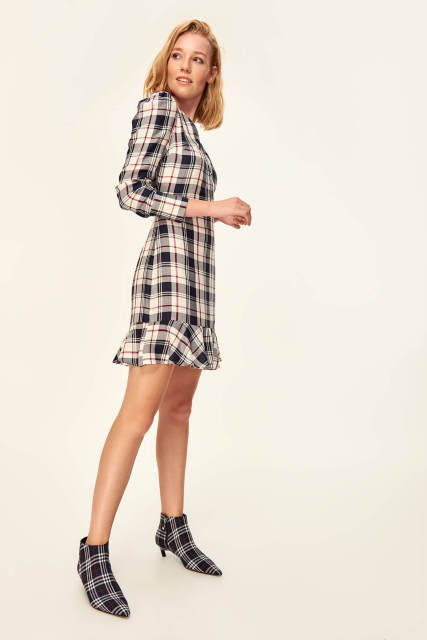 Trendy Multicolored Plaid Dress