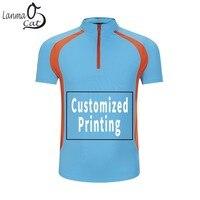 Lanmaocat Men Women Sport Yoga Running Shirts Custom Printed Stand Collar Sports Breathable Exercise Tee Shirts Free Shipping