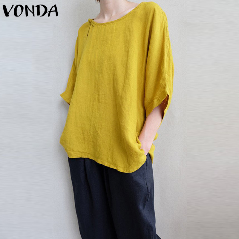 VONDA Women Cotton Blouses Shirts 2019 Autumn Casual Loose O Neck Batwing 3/4 Sleeve Asymmetric Hem Solid Blusas Tops Plus Size
