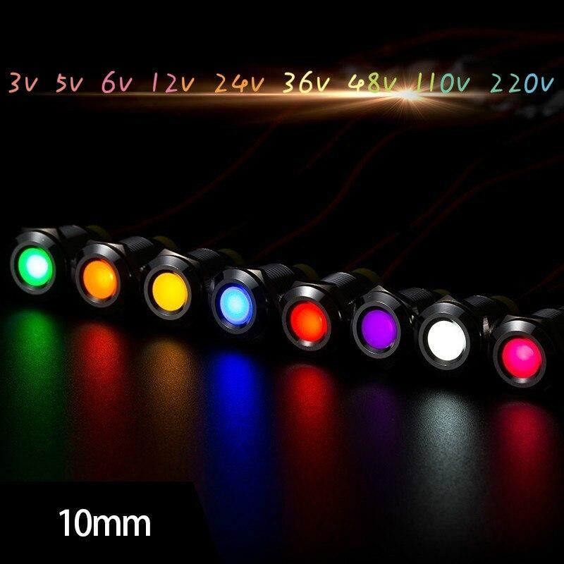 Free Shipping 1PCS 10MM Purple, White, Red,orange,yellow,green,blue Powder Indicator Light  LED Metal Indicator Light