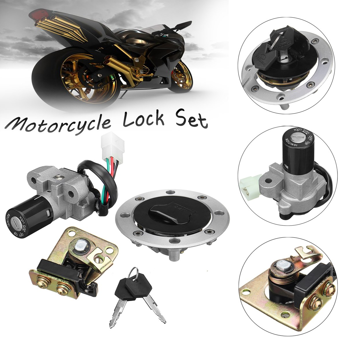 Ignition Switch Seat Lock & Fuel Gas Cap Key Set For Suzuki GS500 89-00 GSX400 GK79A Motorcycle Accessories