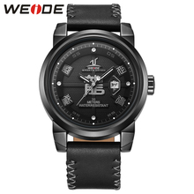 WEIDE Watch For Men 30 Meters Water Resistant Quartz Watches New Arrival Leather Strap Unique Dragon Dial Analog Date  weide men sport watches big dial alam date day back light quartz led display military watch strap analog hardlex wristwatches