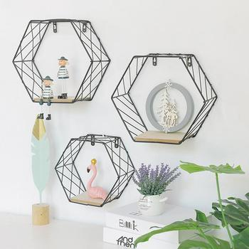 Iron Hexagonal Grid Wall Shelf Combination Wall Hanging Geometric Figure Wall Decoration For Living Room Bedroom
