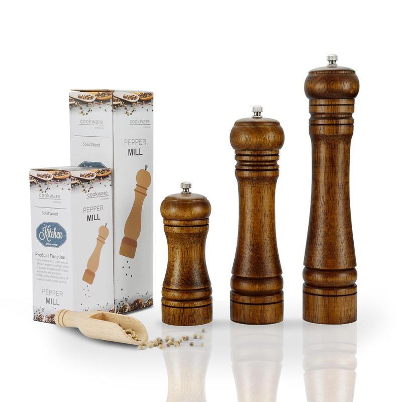 4 pulgadas, color blanco salero ajustable con molinillo de pimienta de cer/ámica molinillos de pimienta de madera Molinillos de sal y pimienta para especias manuales