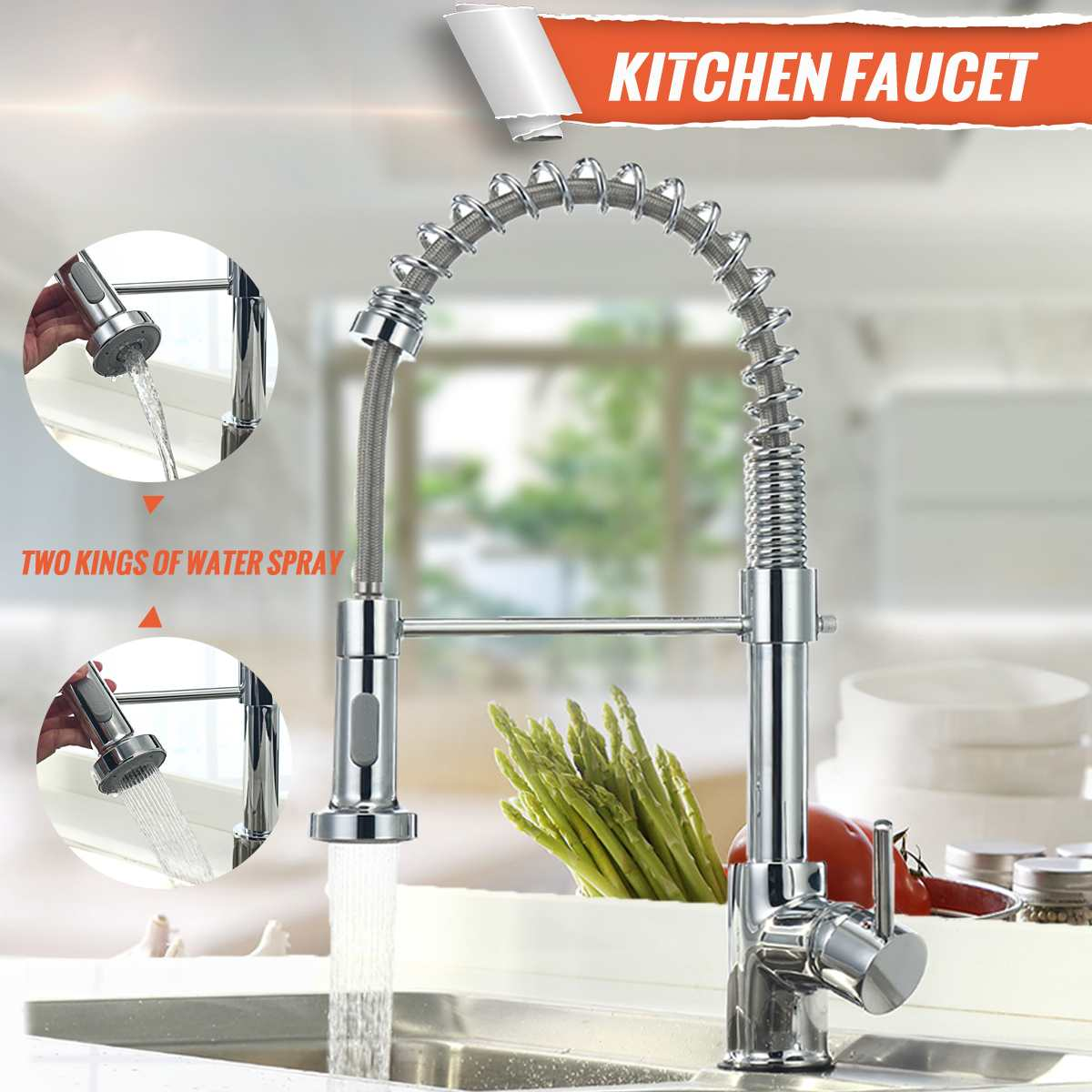 Xueqin 360 Rotation Pull Out Spring Chrome Kitchen Mixer Tap Single Handle Basin Faucet Deck Mounted Spray Hot and Cold WaterXueqin 360 Rotation Pull Out Spring Chrome Kitchen Mixer Tap Single Handle Basin Faucet Deck Mounted Spray Hot and Cold Water