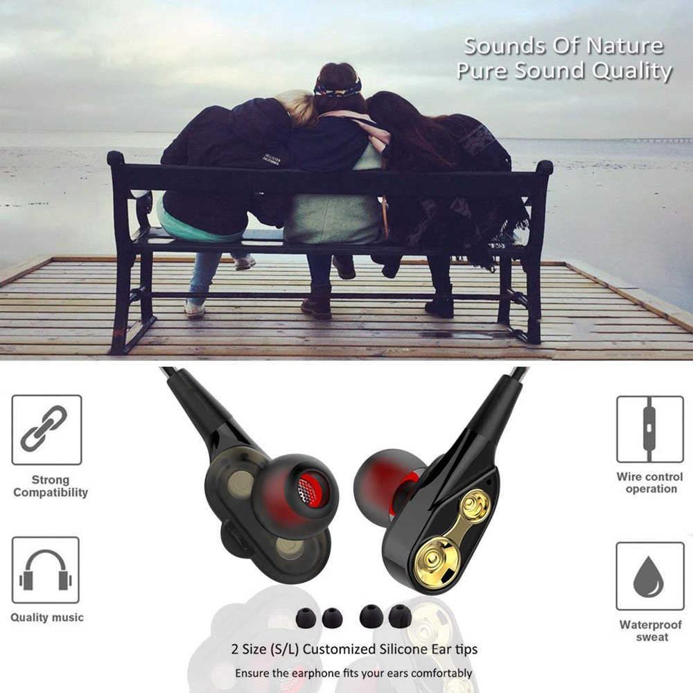 PTM P21 Double Unit Drive Earphone Super Bass Olahraga Headphone untuk Ponsel Dj MP3 Earphone Headset Earbud Auriculares