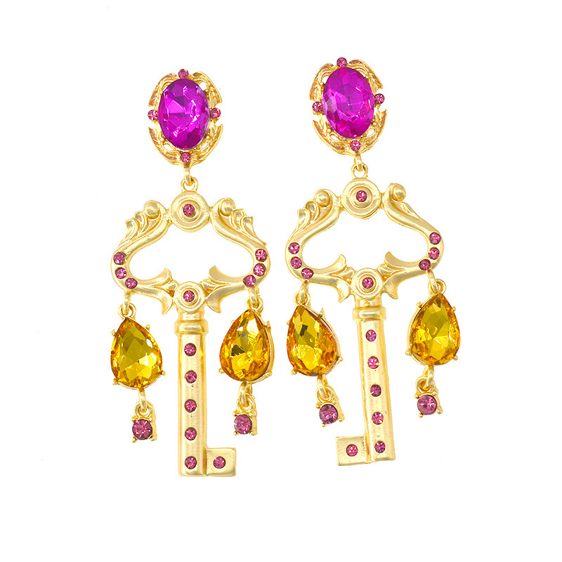 New European Vintage Baroque Women big jewelry rose red key shape Earrings Exaggerated Court Style Party Show Jewelry Earrings in Drop Earrings from Jewelry Accessories