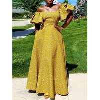 Sexy Long Dress Women 2019 Summer Off Shoulder Evening Dinner Dresses Yellow Ruffle Party Robe Ladies Elegant Maxi Dresses