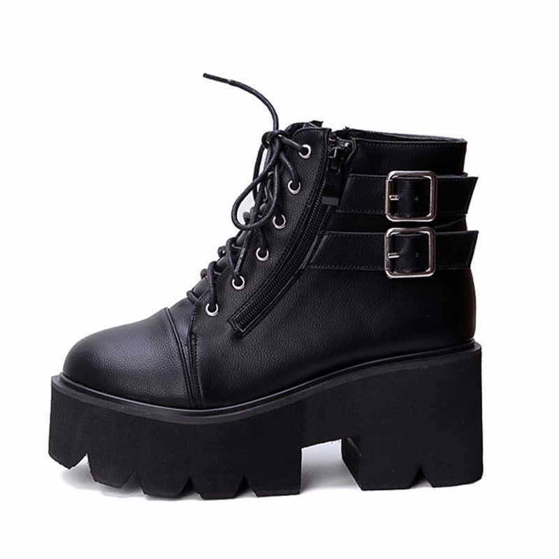 Lace Up Laarzen 2020 Mode Dikke Hak Enkellaarsjes Vrouwen Hoge Hakken Herfst Winter Vrouw Schoenen Punk Laarzen Platform Schoenen YMA413