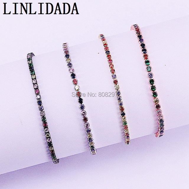20Pcs Charm Micro Pave Multi color Cz Zircon Adjustable Link Chain Bracelet For Jewelry Making