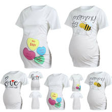 Maternity T Shirt Cute Funny Womens Pregnant Short Sleeve Letter Print shirt Baby Shower Gift Top Love Bee(China)