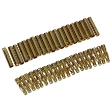 20 Pairs Gold Tone Metal RC Banana Bullet Plug Connector Male Female 4mm