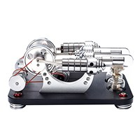Metal 2 Cylinder Double Parallel Bootable Hot Air Stirling Engine Model Micro External Combustion Engine Model