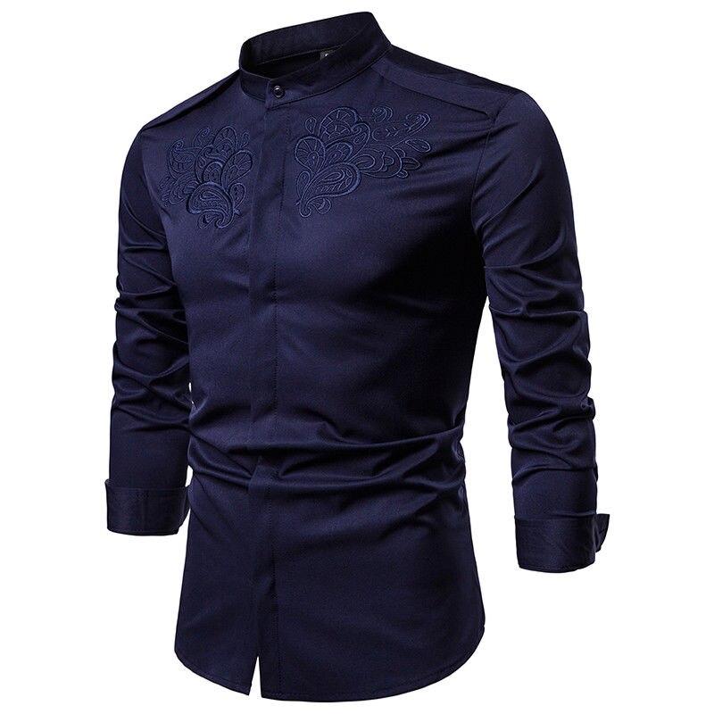 Vestido Blue De Camisa Top Slim Fit blanco Lujo Hombre Negro Collar Nuevos  dark Hombres Camisas ... a386a7bae4a