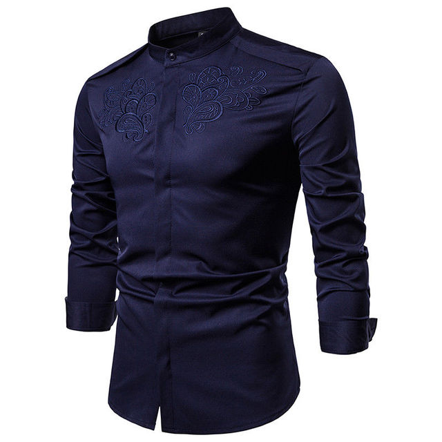 b65f827d6 Men New Luxury Slim Fit Embroidered Shirt Male Stand Collar Dress Formal  Shirt Solid Casual Top Shirts Man