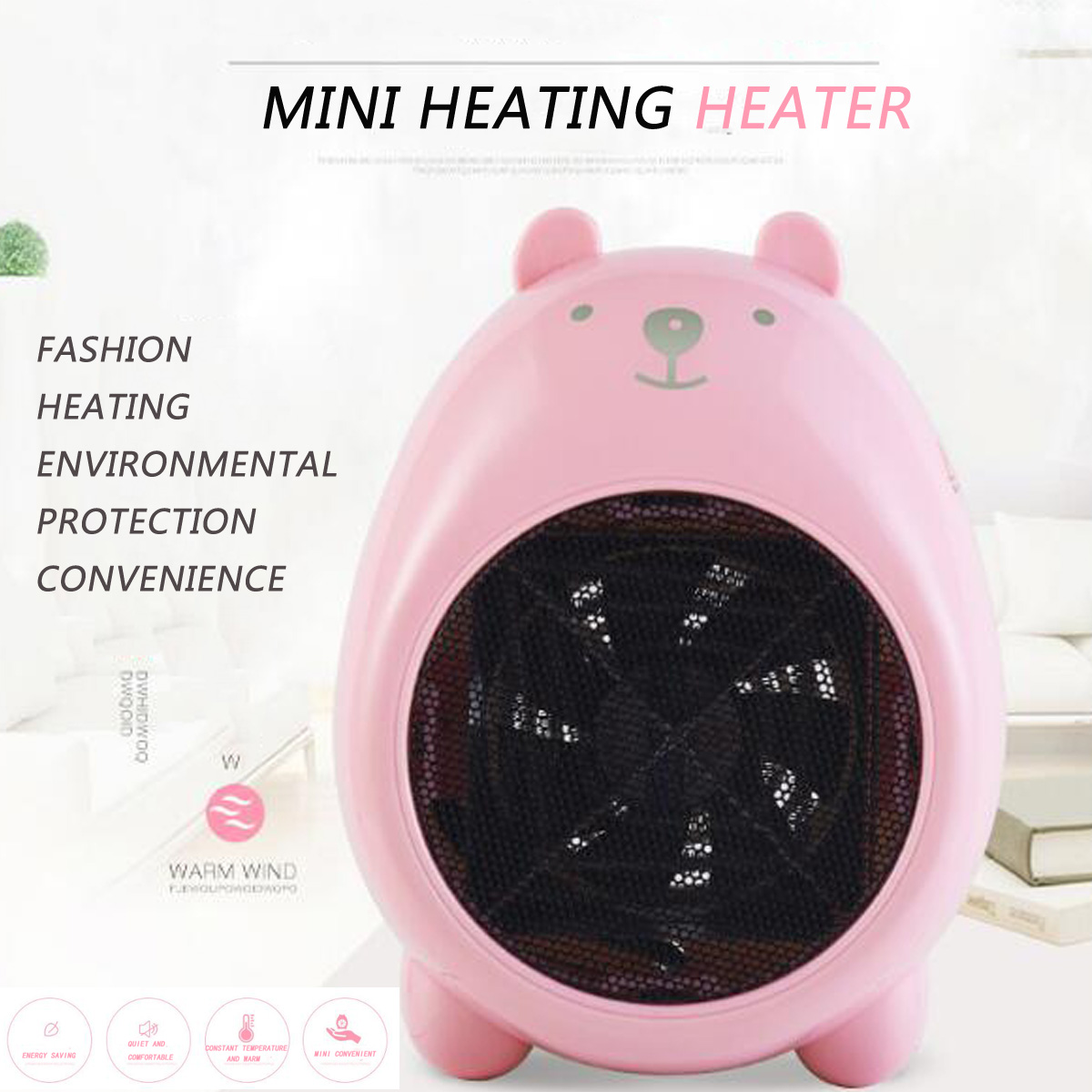 Warmtoo Mini Cartoon 400W Electric Heaters Warm hand Small Desktop Heater Cute Warm Fan For Household Office DormWarmtoo Mini Cartoon 400W Electric Heaters Warm hand Small Desktop Heater Cute Warm Fan For Household Office Dorm