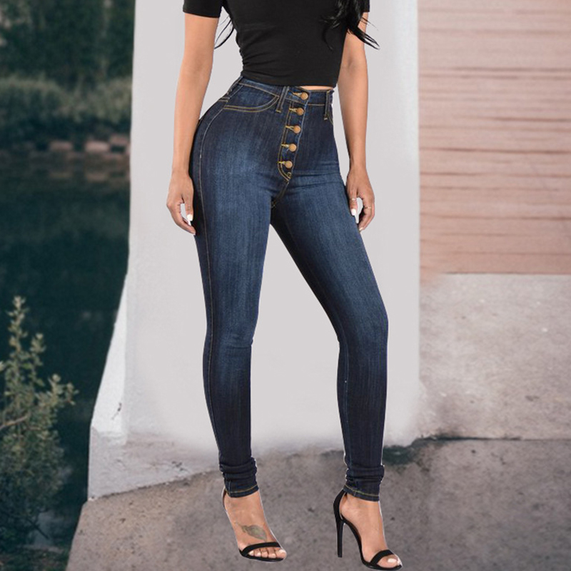 Pull On Jeans High Waist Women Pencil Pants Capris Double Button Single Breasted Push Up Female Denim Trousers Tight Plus Size