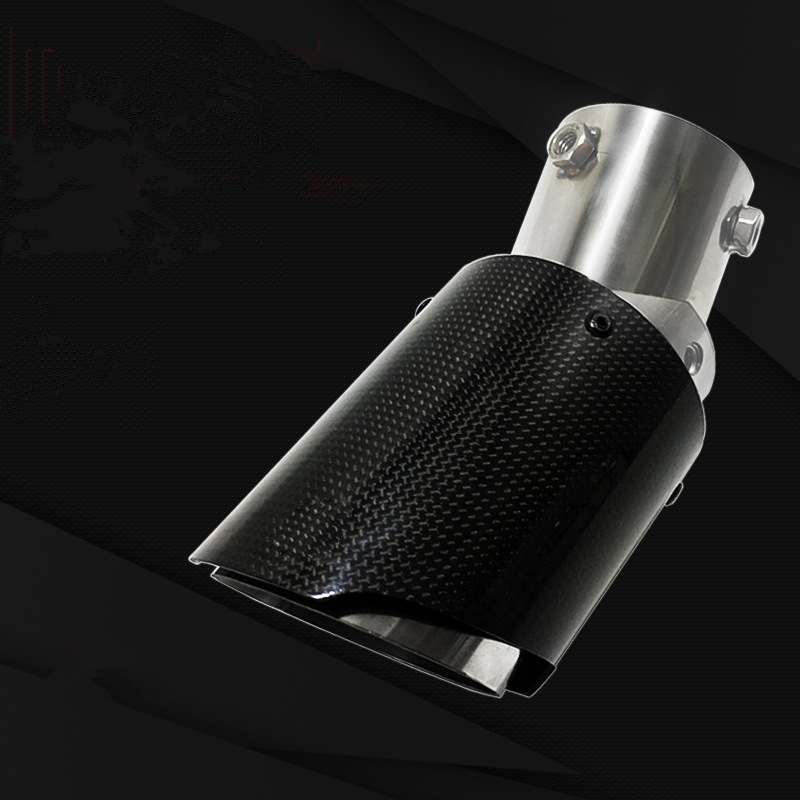1Pcs Universal Adjustable Angle Bend Style Akrapovic Tips Carbon Fiber Car Exhaust Pipe Muffler Car Styling
