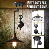 Vintage Pendant Lights Pulley Lamp Adjustable Wire Telescopic AC110 240V E27 Industrial Retro Iron Lamp Room Home Decor
