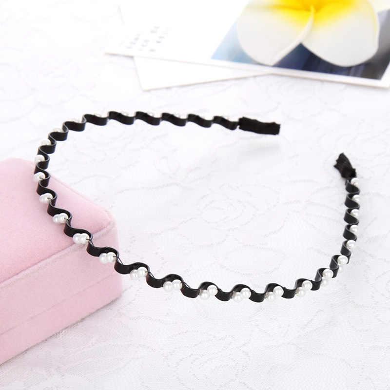 Модная черная повязка на голову с жемчугом, 1 шт., тонкие пластиковые женские резинки для волос, новая одежда для девочек, волнистые аксессуары для волос