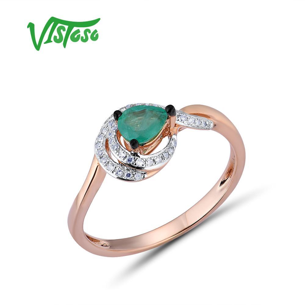 VISTOSO Oro Anelli Per Le Donne Genuino 14K 585 Oro Rosa Anello Magico Smeraldo Scintillante Del Diamante di Fidanzamento Anniversario Gioielleria Raffinata