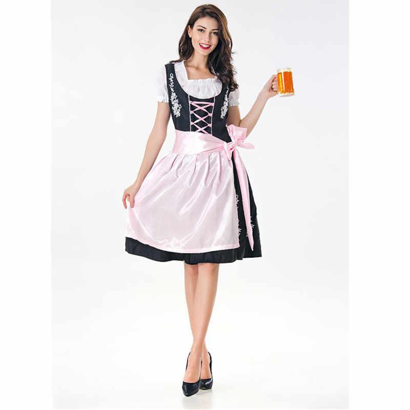 Duitsland vrouwen Dirndl Jurk Oktoberfest Beierse Bier Fancy Gorgeous Kostuum Halloween Sexy Maid Outfit Fancy Kleding