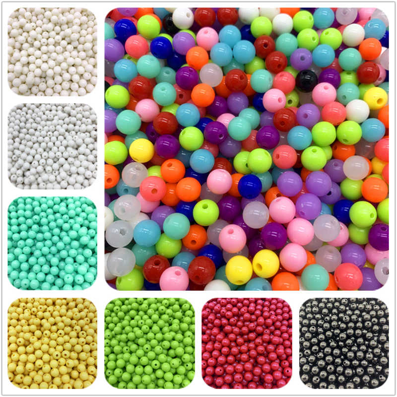 6mm 8mm 10mm Acrylic Spacer Beads Round Loose Beads For Jewelry Making Necklace Bracelet Earring Accessories