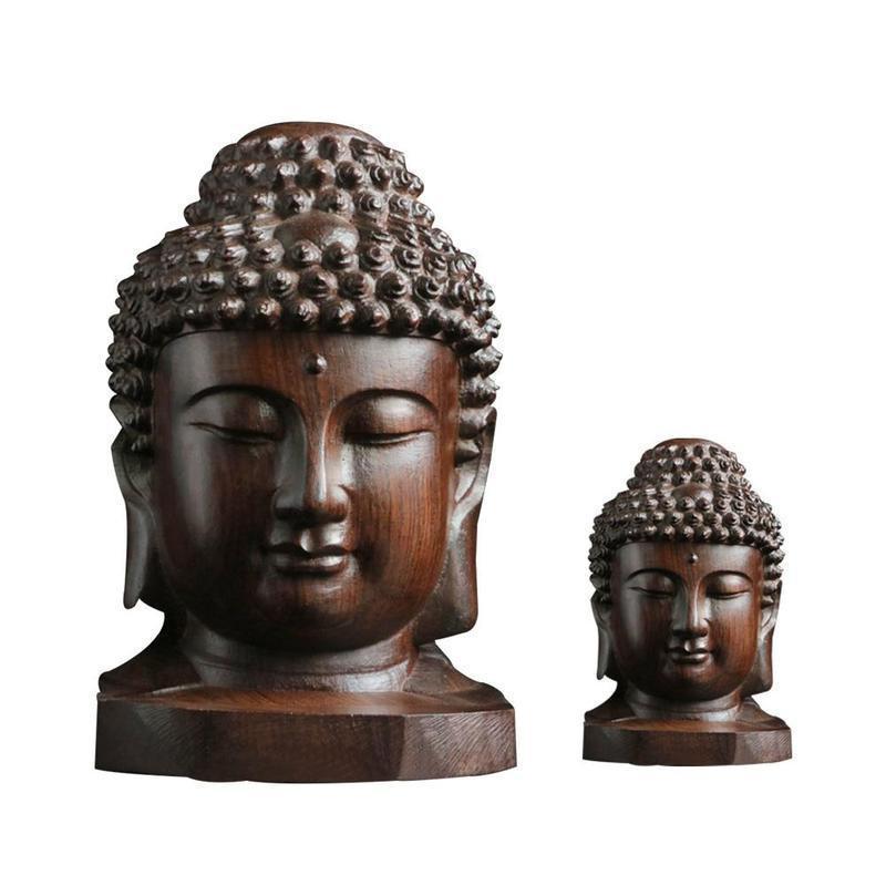 6cm Buddha Statue Wood Wooden Sakyamuni Tathagata Figurine Mahogany India Buddha Head Statue Crafts Decorative Ornament MJG2141