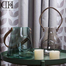 Modern glass candle holder with leather belt candlestick home decoration lantern wedding stand