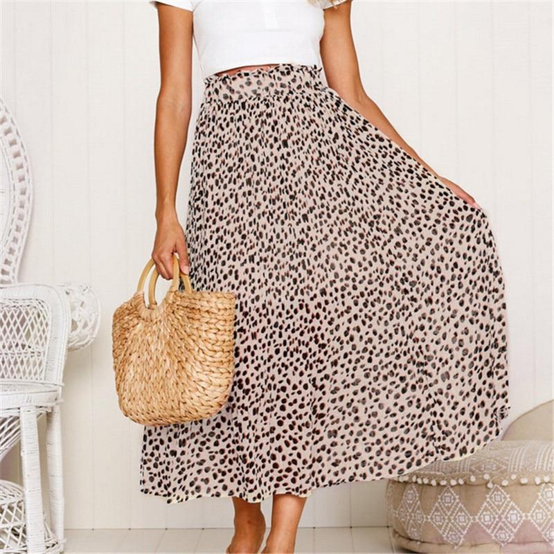 Womens Pleated Long Maxi Skirts 2019 Summer Leopard Printed Elastic Waist Skirt Chiffon Party High Waist Beach Boho Maxi Skirts