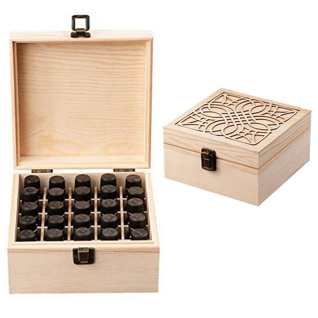 25 Slots Essential Oil Bottle Wood Storage Box Case Wood Aromatherapy Organizer 18*18*8.5 cm Pine essential oil case wooden