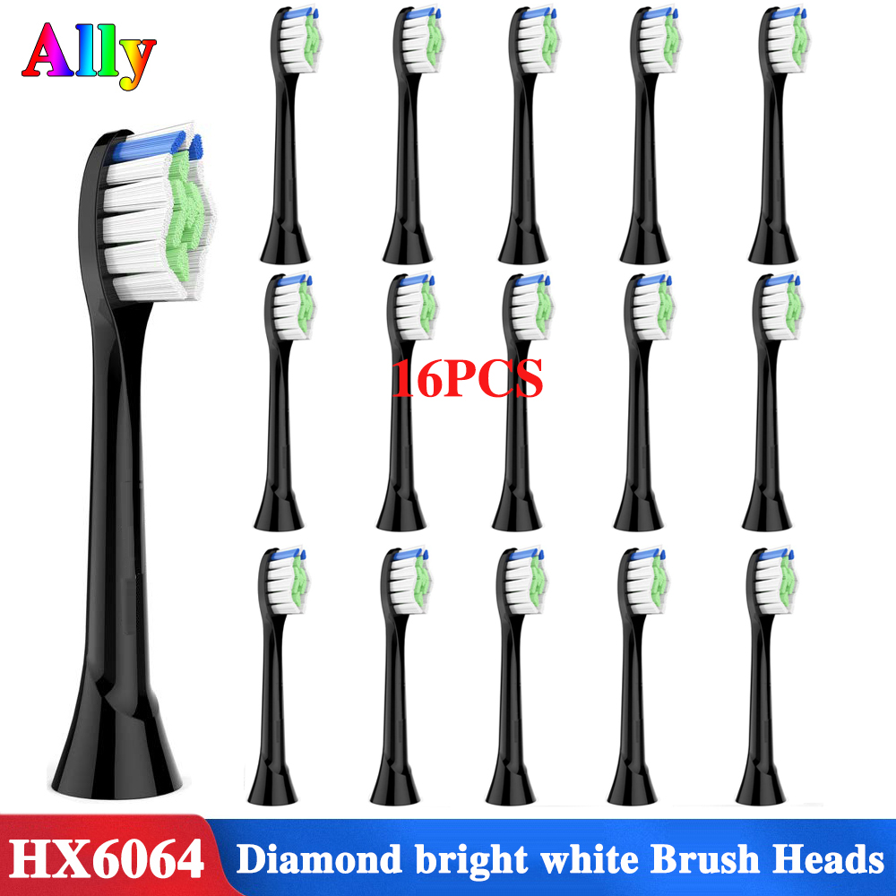 16 pcs Replacement Brush Heads Compatible with Philips Sonicare Electric Toothbrush - Model HX-6064 Black - by FolksCare image