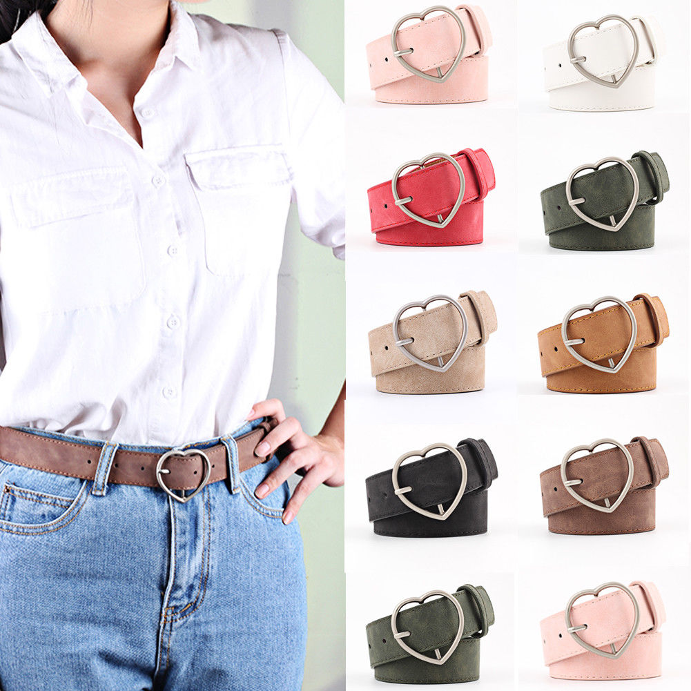 New Fashion Women Ladies Metal Heart Buckle Belt Faux Leather Jeans Dress Waist Band Belts Stylish Female Belts