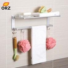 цена ORZ Bathroom Shelf Foldable Towel Holder Rack Storage Organizer Wall Mounted Storage Hooks Towel Bar Toilet Rack Bath Organizer онлайн в 2017 году