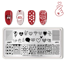 BORN PRETTY Nail Stamping Plates Valentines Day Heart Design Rectangle Stamp Template Stencil Tool For L008