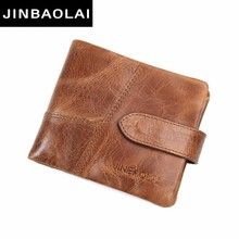 JINBAOLAI NEW 100% Genuine Leather Men Wallets Design Short Men Wallet with Coin Zipper Male Mens Purses Card Holder Carteira