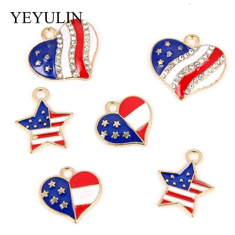 Flag Charms Pendants Jewelry-Accessories Rhinestone Stars Heart Love Enamel Bracelet