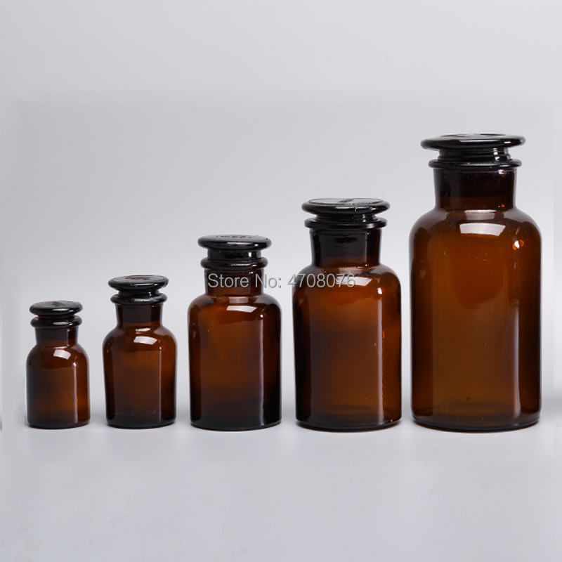 30/60/125/250/500ml Lab glass reagent bottle with cover lid Brown sample wide frosted mouth for chemical experiment
