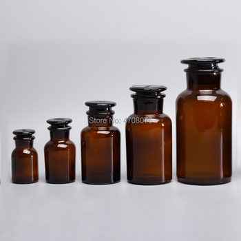 30/60/125/250/500ml Lab glass reagent bottle with glass cover lid Brown sample bottle wide frosted mouth for chemical experiment guy laroche fidji туалетная вода 50мл