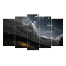 Wall Art Posters and Prints Canvas Galactic universe&bonfire Painting Wall Picture for Living Room Artwork Decor Free Shipping
