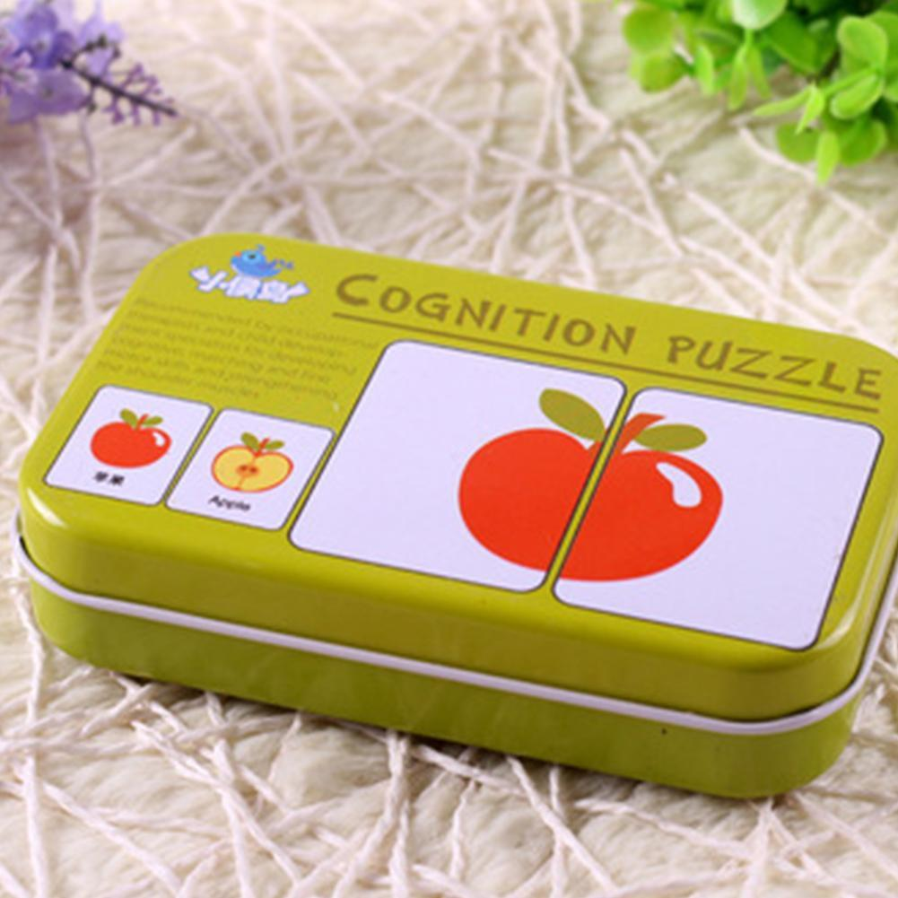 Puzzles & Games Kids Cognition Puzzle Toys Toddler Iron Box Cards Matching Game Cognitive Card Vehicl/fruit/animal/life Set Pair Puzzle Be Friendly In Use Toys & Hobbies