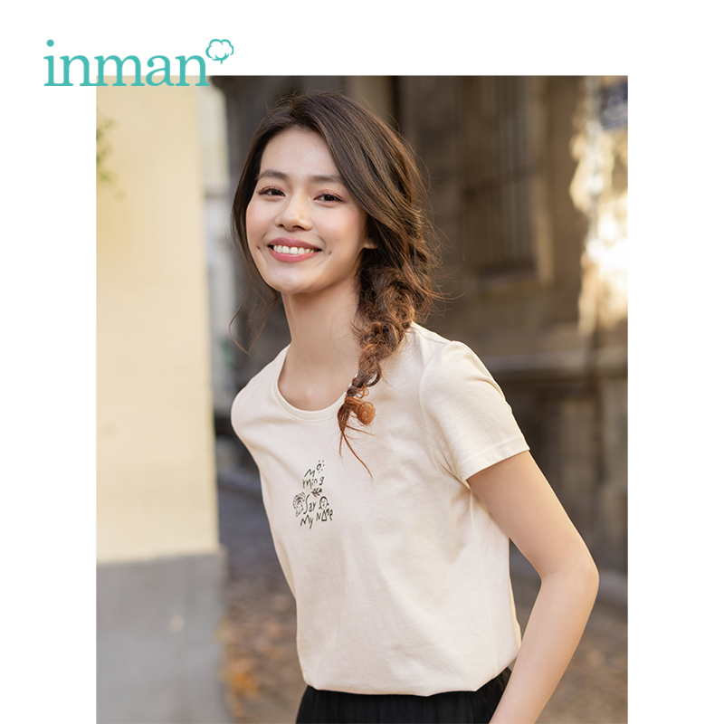 INMAN 2019 Summer New Arrival Cotton O-neck Short Sleeve Funny Print Pretty Minimalism All Matched Casual Women T-shirt