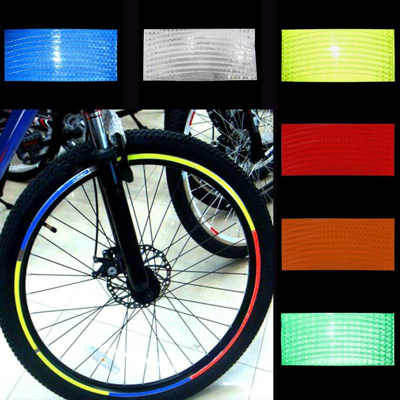 1 Pc Bicycle Tire Reflective Stickers Colorful Bike Cycling Wheel Rim Stickers Mountain Bike Decal Safety Stickers