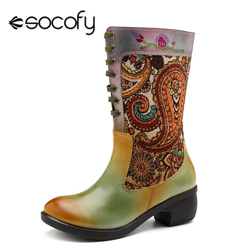 Socofy Bohemian Genuine Leather Women Mid-calf Boots Shoes Woman Autumn Winter Boots Women Shoes Retro Western Cowgirl BootiesSocofy Bohemian Genuine Leather Women Mid-calf Boots Shoes Woman Autumn Winter Boots Women Shoes Retro Western Cowgirl Booties